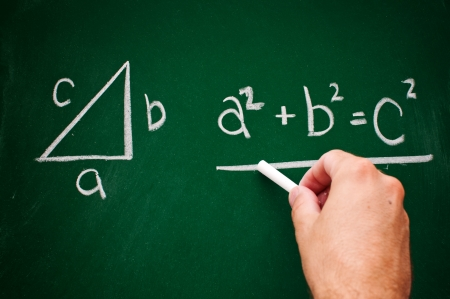 Pythagorean theorem sketched with white chalk on a chalk board photo
