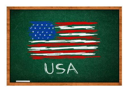 rasa: USA flag drawing on green chalkboard  with wooden frame  Stock Photo