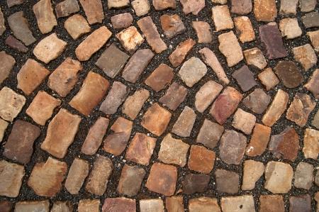empedrado: Piedra del adoquín camino patrón de Praga.