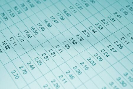 spreadsheets: Numbers in table displayed on the computer monitor Stock Photo