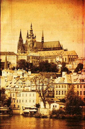 View of famous Prague castle from the Charles Bridge, vintage editing