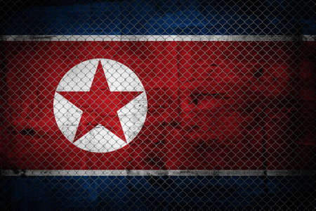 overlaying: North korea grunge flag  Flag od North Korea overlaying grunge texture