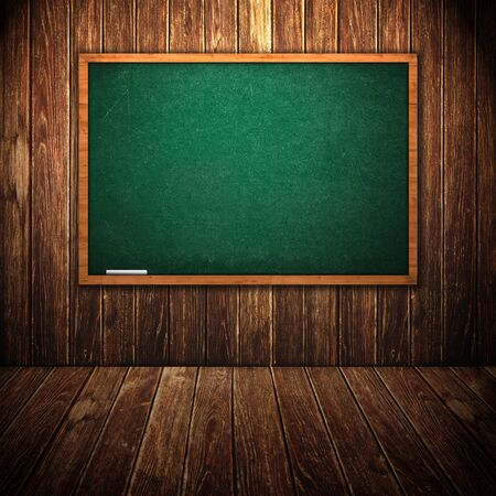 rasa: Green school chalkboard in wooden interior. Tabula rasa, first day of school concept. Stock Photo