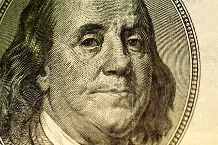 ben franklin: Benjamin Franklin portrait on hundred american dollar bill.