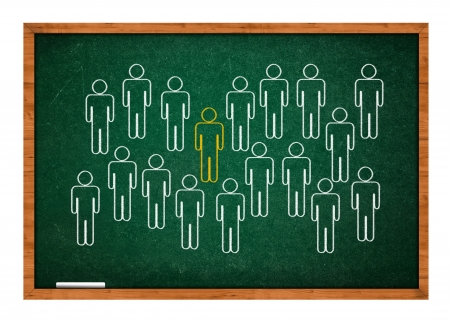 rasa: Stand out from crowd on green chalkboard with wooden frame. Stock Photo