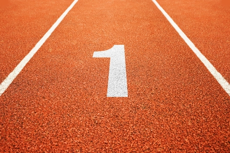 one lane: Number one on athletics all weather running track