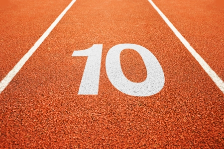 number 10: Number ten on athletics all weather running track
