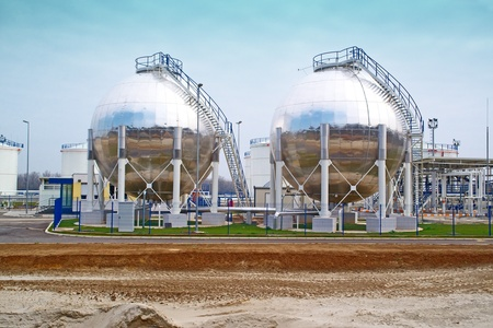 rafinery: Oil storage tanks  Fuel storage tanks at oil rafinery factory
