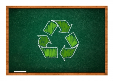rasa: Green recycle symbolon green chalkboard with wooden frame.