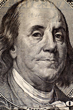 franklin: Benjamin Franklin portrait on hundred american dollar bill.
