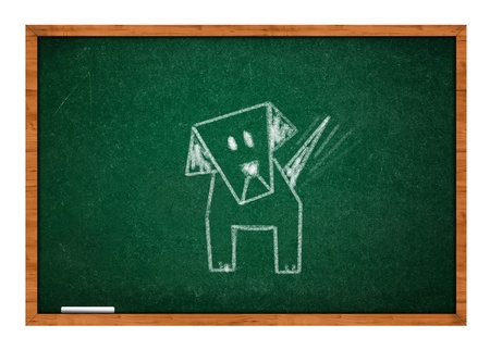 rasa: Child drawing of a dog on  green chalkboard with wooden frame.