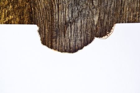 White paper with burned edges on old wood background. Stock Photo - 19568870