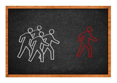 Group of men is chasing after a men, simple illustration on black chalkboard.