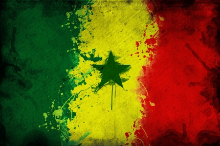overlaying: Flag of Senegal, image is overlaying a grungy texture.