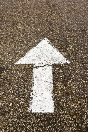 right of way: White arrow on the road. Business vision, obligation, right way or the only way concept.