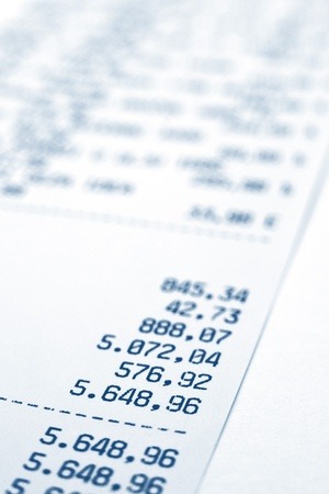 macr: Shopping bill, close up image with shallow depth of field, focus on total amount