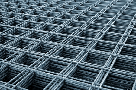 Reinforcing steel mesh, close up image of construction material. photo