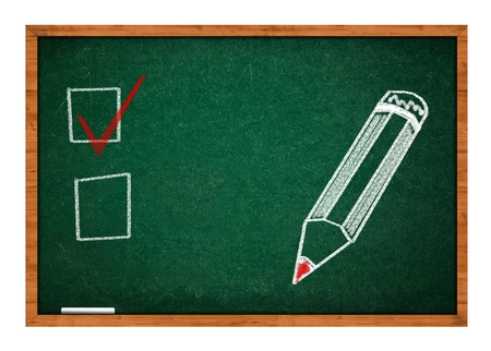rasa: Choice concept on green chalkboard with wooden frame. Stock Photo
