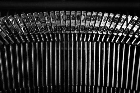 typewrite: Vintage typewriter detail. Old typewriter bars, close up. Stock Photo