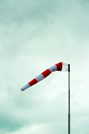 Windsock on a cloudy winter day. photo
