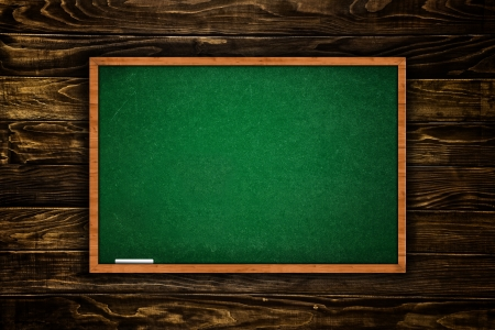 day of school: Green school chalkboard in wooden interior  Tabula rasa, first day of school concept  Stock Photo
