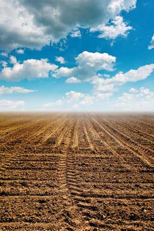 plowed field: Plowed field or ploughland  Arable land in spring  Stock Photo
