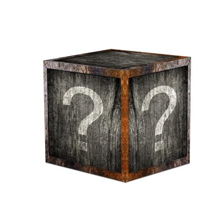 感嘆符の付いた木製ミステリー ボックス 写真素材
