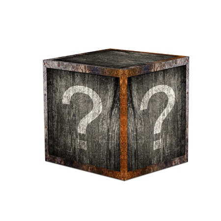 Wooden mystery box with question marks