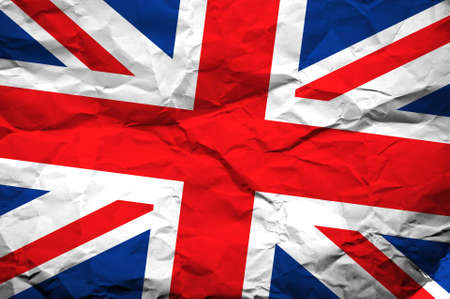 crumpled paper texture: Great Britain flag overlaying crumpled paper texture