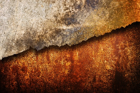 corroded: Cracked rusty metal plates, corroded metal plates texture Stock Photo