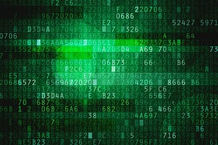 code computer: El espacio cibern�tico con el c�digo hexadecimal como fondo digital