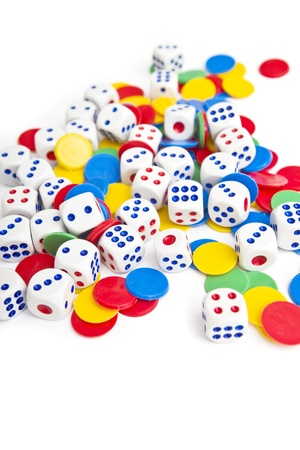 probability: Dices. Plastic dices pile as board game or gambling concept.