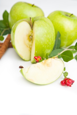granny smith: Green apples, granny smith sort of green apple fruit Stock Photo