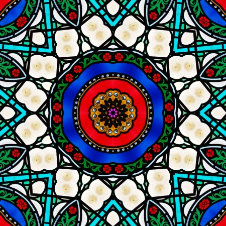 vitrage: Colorful vitrage as kaleidoscope or ornamental mandala
