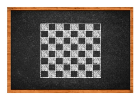 Simple chess board drawing on a black chalkboard photo