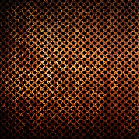 corroded: Corroded metal grid as background, rusty texture.