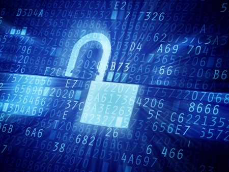 セキュリティ コードの抽象的なイメージを割った。パスワード保護の概念図。