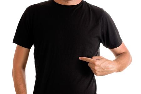 modelos negras: Hombre alto y delgado que presenta en blanco negro t-shirt Foto de archivo