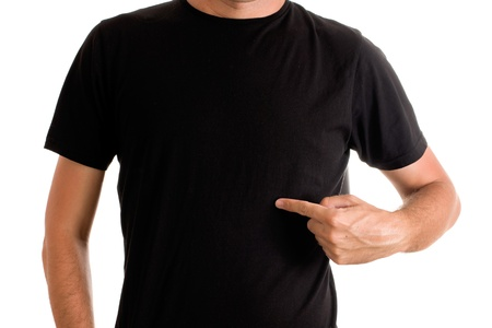 black shirt: Slim tall man posing in blank black t-shirt