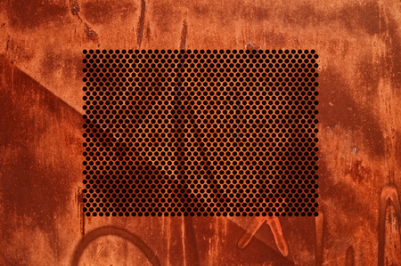 metal grid: Corroded metal grid as background, rusty texture  Stock Photo