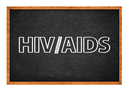transmitted: HIV and AIDS on school blackboard, sexually transmitted diseases class Stock Photo