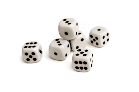 probability: Dice. Plastic dice pile as board game or gambling concept.