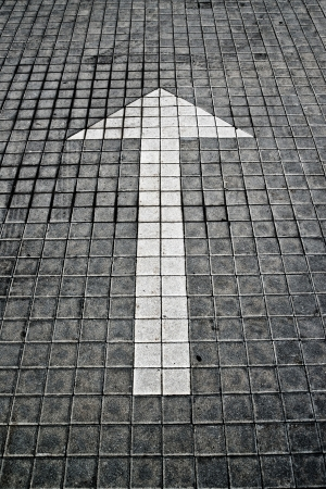 right of way: White arrow on pavement. Business vision, obligation, right way or the only way concept.