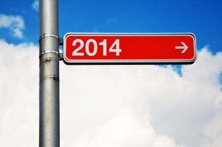 two thousand and fourteen: Street sign with number two thousand and fourteen (2014), next year concept.
