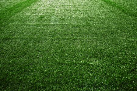 campo calcio: Tappeto erboso artificiale di campo di calcio, verde erba di plastica come sfondo. Archivio Fotografico