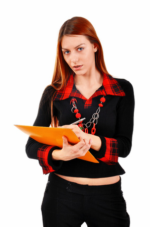 red head: Red head Business Woman writing notes, isolated on white background Stock Photo