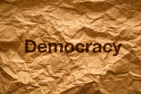 crumpled paper texture: Democracy on Crumpled paper texture