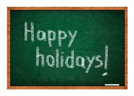 rasa: Happy holidays on green chalkboard with wooden frame. Stock Photo
