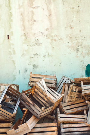 Wooden crates  Pile of old wooden crates against the wall Stock Photo - 22719746