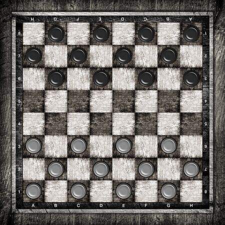 draughts: Travelling draughts or checkers board game on playing field